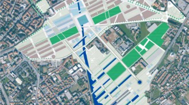 Una planimetria di Bergamo con il progetto di Porta Sud