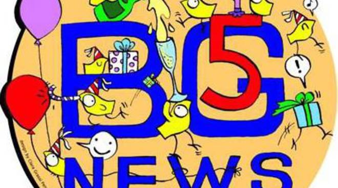 Il logo per la festa dei 5 anni di Bergamonews
