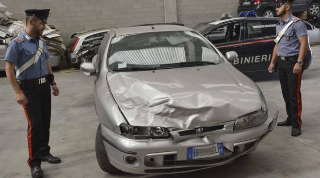 La Fiat Bravo che ha investito e ucciso Simone Suardi