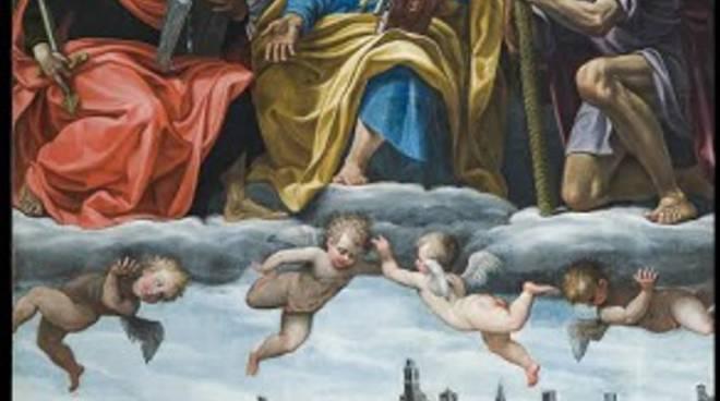 La grande tela con San Pietro, San Paolo e San Cristoforo  in gloria di Gian Paolo Cavagna,