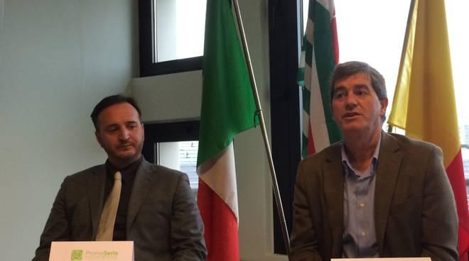 Guido Fratta, presidente di Promoserio, e Ferdinando Piccinini, segretario generale della Cisl di Bergamo
