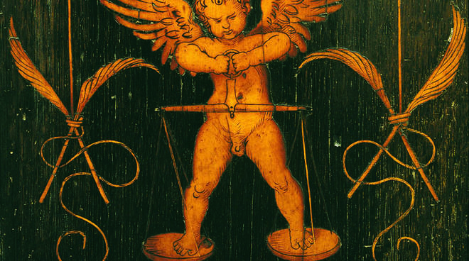 Amor sulla Bilancia, Nosce te ipsum (Lorenzo Lotto, 1524, tarsia)