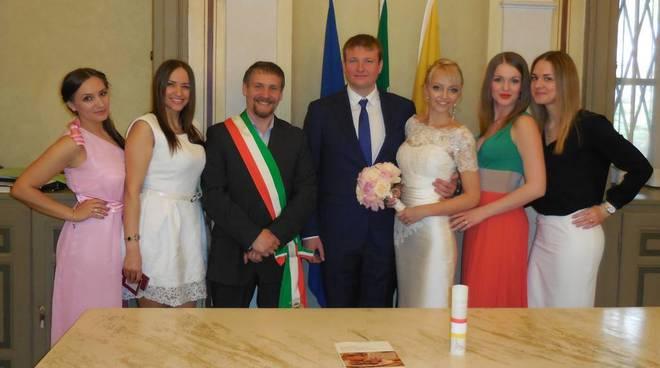 La coppia russa che si è sposata a Bergamo sabato 18 aprile