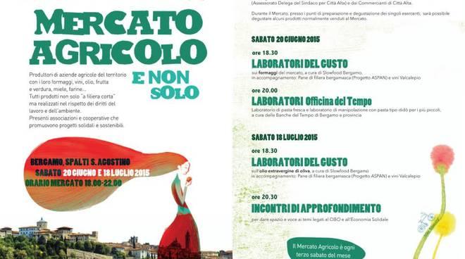 Mercato agricolo e non solo sabato 20 giugno in Sant'Agostino