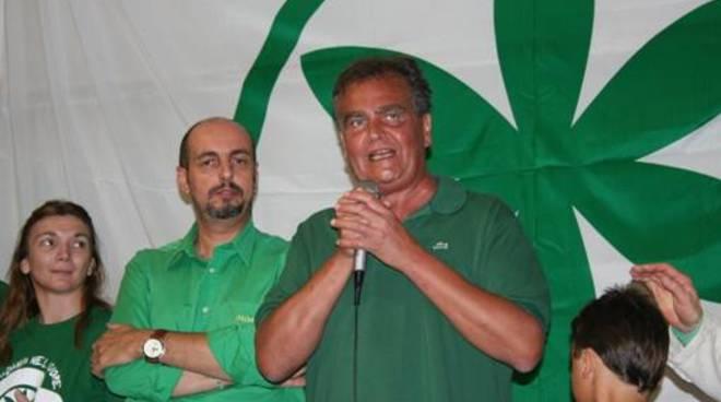 Roberto Calderoli a un vecchio raduno leghista a Pontida