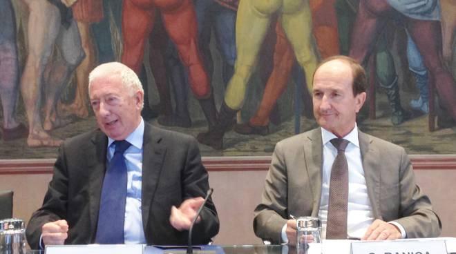 Giorgio Frigeri, presidente, e Osvaldo Ranica, direttore generale della Banca Popolare di Bergamo