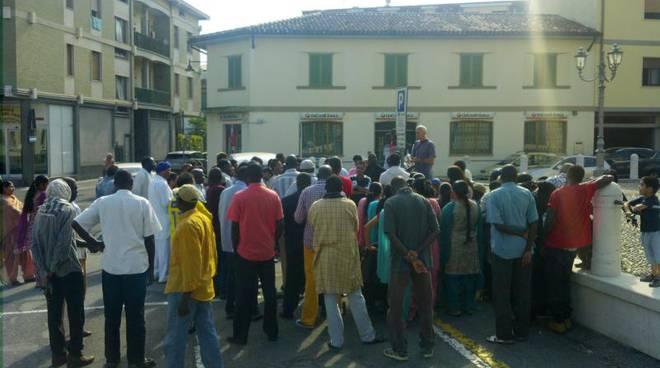la protesta a Telgate