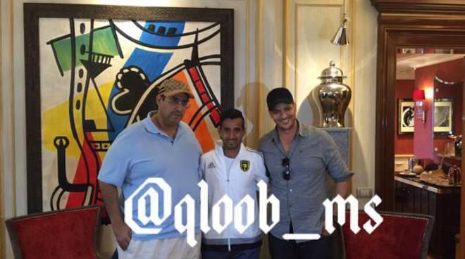 Maxi Moralez con la tuta dell'Al-Ittihad (foto Twitter @qloob_ms)