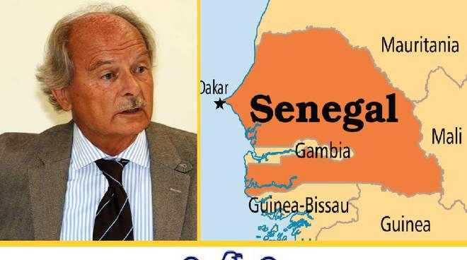 Il presidente del Senegal Macky Sall, il direttore di Confindustria Bergamo Guido Venturini