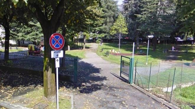 L'ingresso di via Fermi del parco di Dalmine