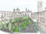 Piazza Vecchia come sarà nel nuovo allestimento che riprende il tema dell'Expo