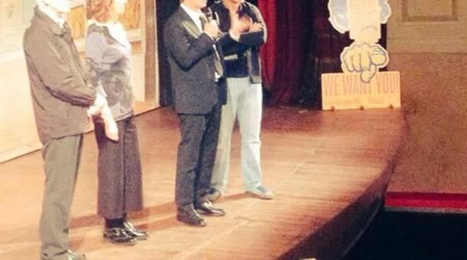 Al Teatro Donizetti: don Rota, l'assessore Ghisalberti, il sindaco Gori e il direttore artistico Micheli
