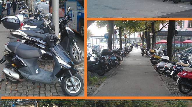Moto parcheggiate in stazione