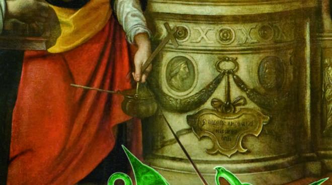 Un particolare della pala di Enea Salmeggia