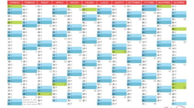 Calendario Anno 2015.Il 2016 Anno Fortunato Per Festivita E Ponti Un Calendario
