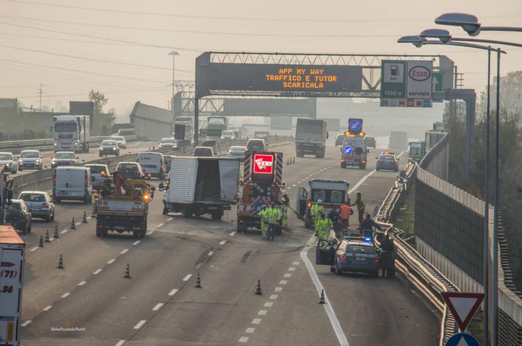 Incidente in A4 tra Dalmine e Capriate