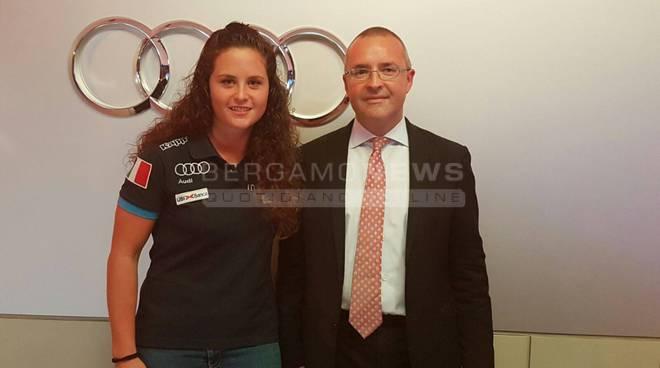 La campionessa del mondo Michela Moioli al battesimo della nuova Audi A3 presentata da Bonaldi fotogallery