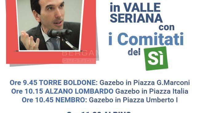 Il Ministro Maurizio Martina in Valle Seriana con i Comitati del Sì
