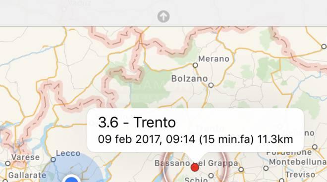 La terra trema al Nord: scossa 3.6 tra Trento e Vicenza