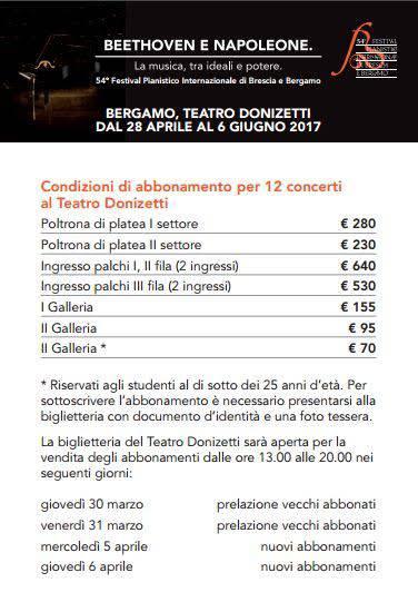 Prezziario del festival pianistico