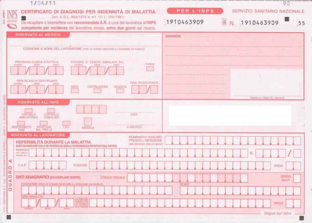 certificato medico malattia