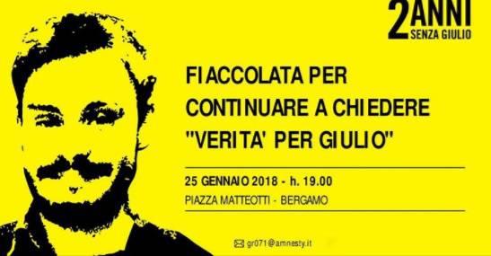 Due anni senza Giulio Regeni: fiaccolata per le strade del centro