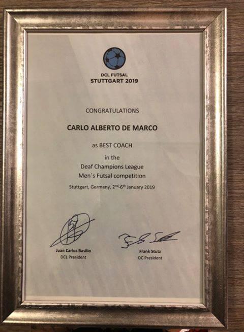 Carlo Alberto De Marco migliore coach d'Europa
