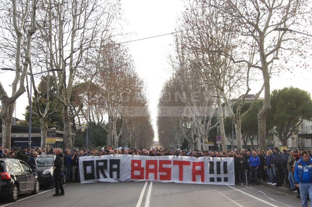 Atalanta-Fiorentina, il corteo dei tifosi