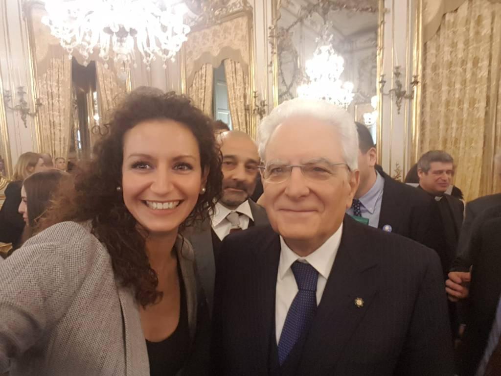 Ilaria Galbusera con il presidente Mattarella