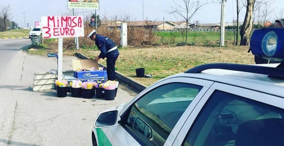 venditore abusivo con 270 mazzi di mimose
