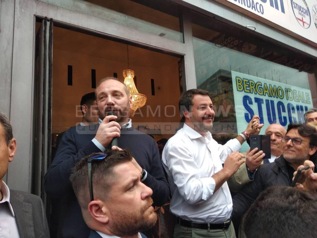 Salvini a Bergamo per sostenere Giacomo Stucchi