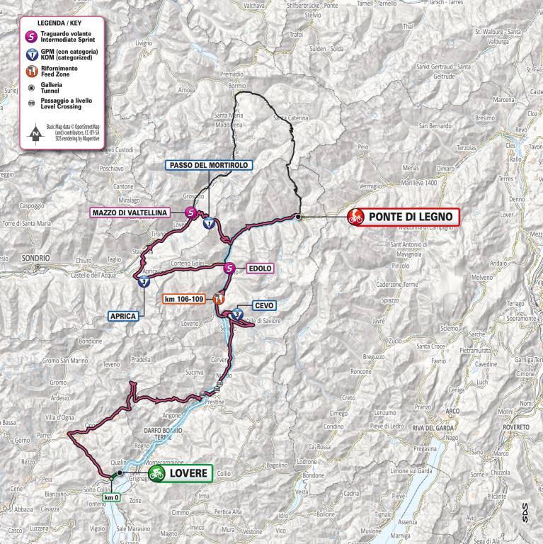 Giro d'Italia 2019 - percorso Lovere-Ponte di Legno