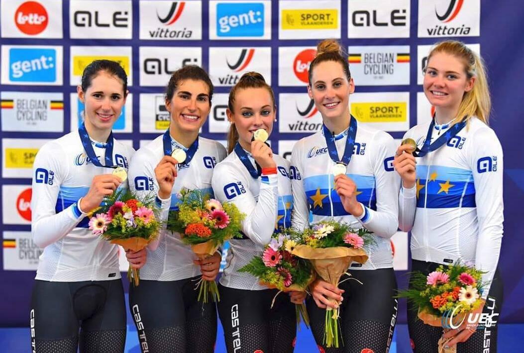 Elisa Balsamo, Marta Cavalli, Vittoria Guazzini- Europei Under 23/juniores Ciclismo su pista 2019