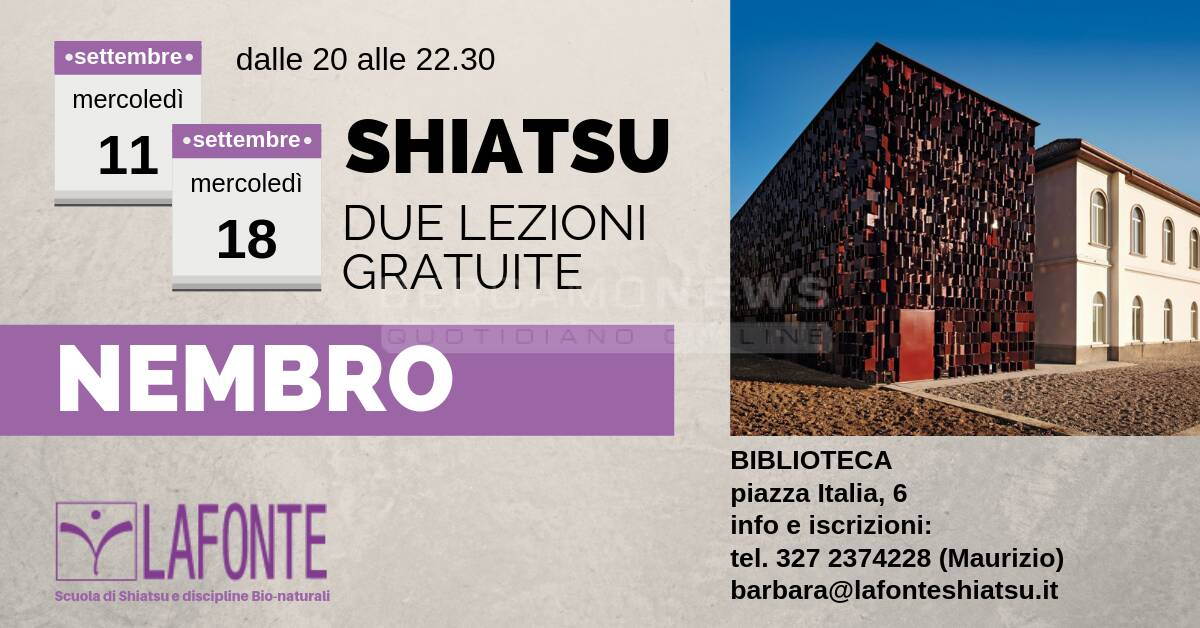 Shiatsu, due lezioni gratuite a Nembro