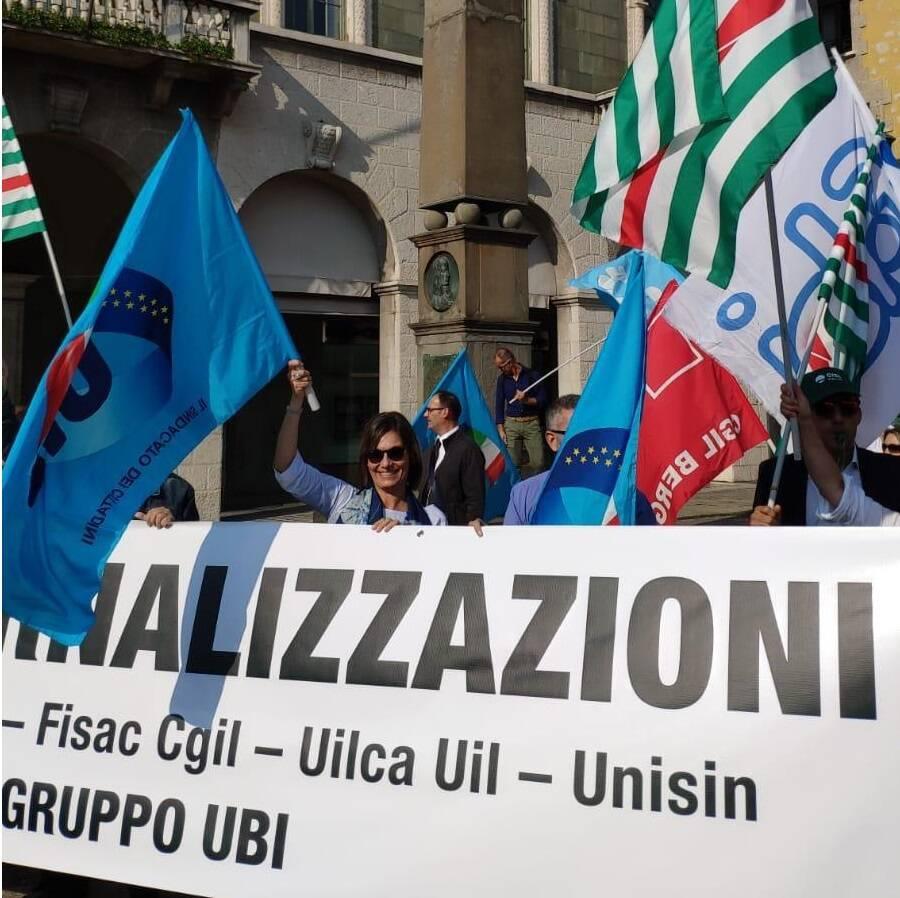 Protesta dipendenti Ubi Banca