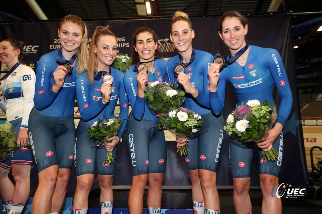 Elisa Balsamo, Marta Cavalli e VIttoria Guazzini - Campionati Europei di ciclismo su pista 2019
