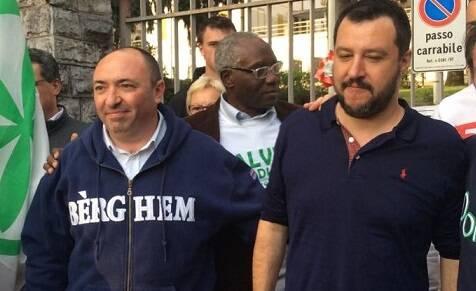 Andrea Previtali con Matteo Salvini