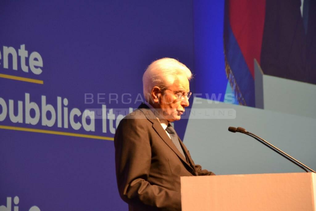 Il presidente della Repubblica Sergio Mattarella a Bergamo