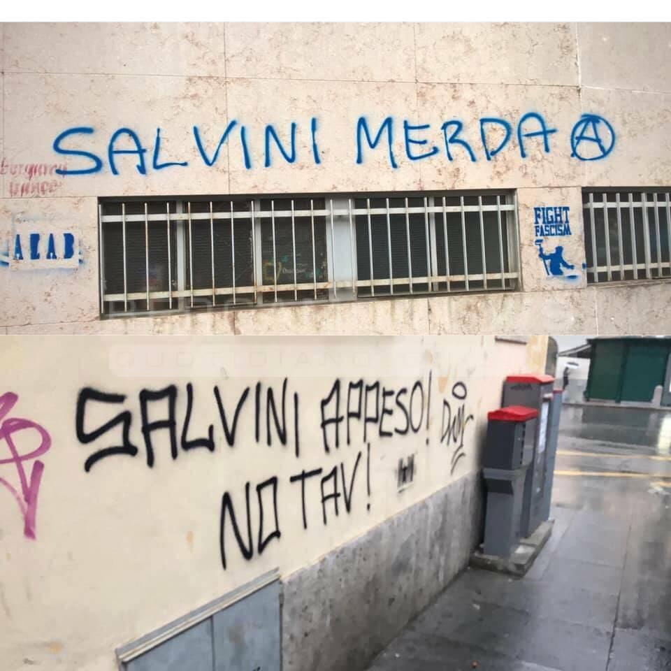 scritte contro salvini