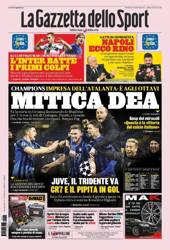 I giornali italiani ed esteri celebrano l'Atalanta