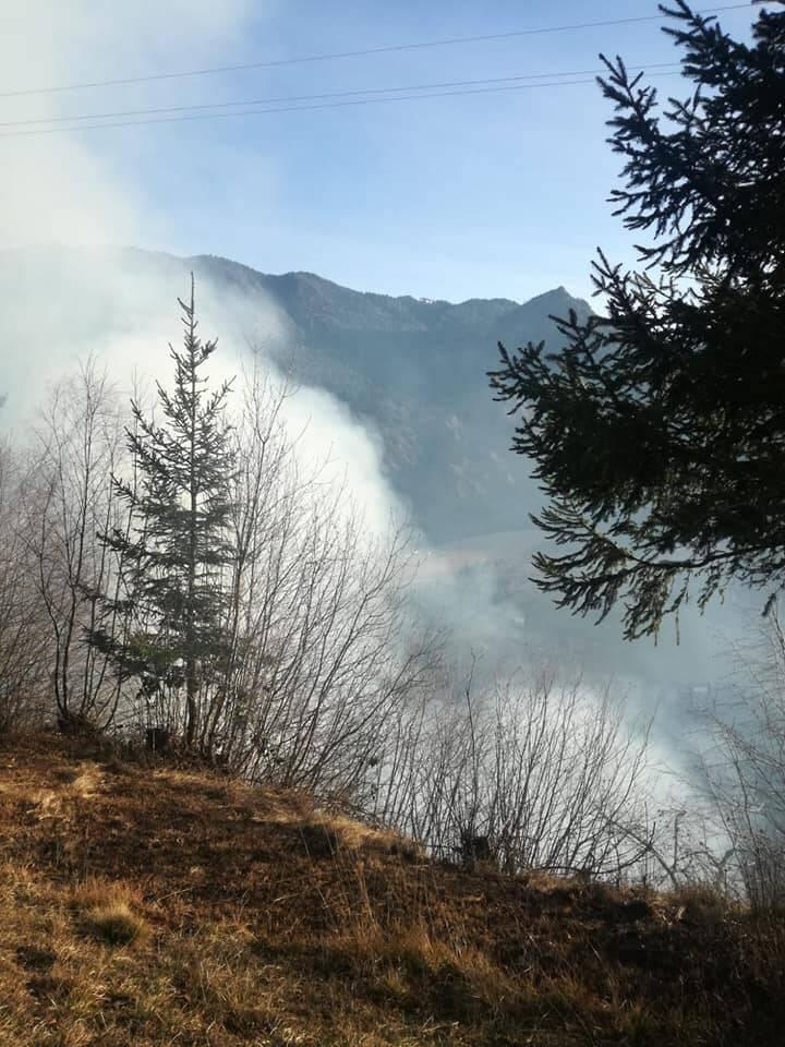 Incendio nei boschi di Dorga