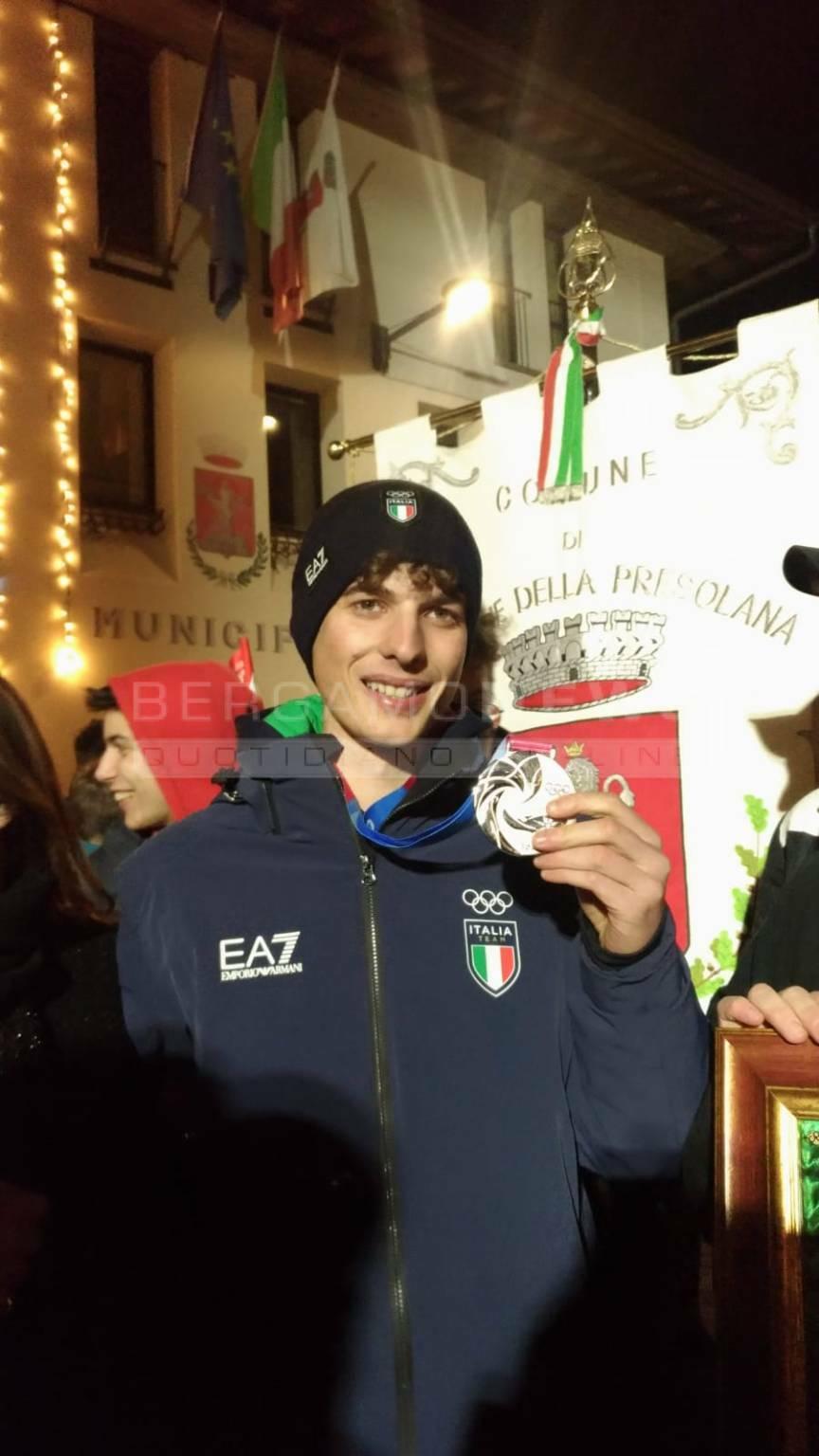 Luca Tomasoni medaglia olimpica, festa a Castione