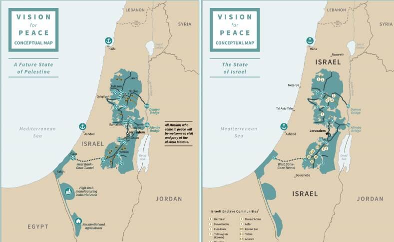 mappa piano trump israele palestina