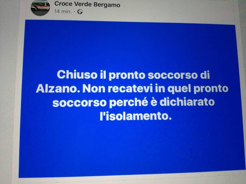 Pronto soccorso Alzano chiuso