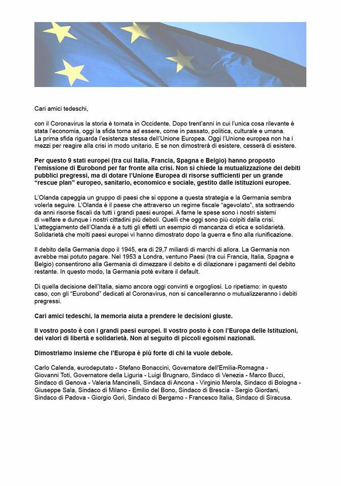 Calenda Gori E Altri Su Quotidiano Tedesco Spronano La Germania Sia Piu Solidale Bergamo News