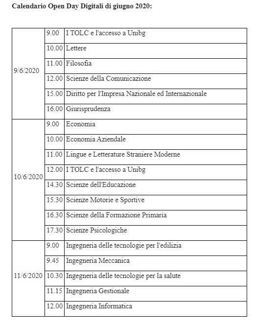 Calendario Open Day Digitali di giugno 2020