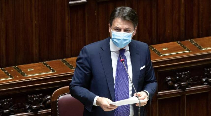 Giuseppe Conte alla Camera (foto Governo.it)